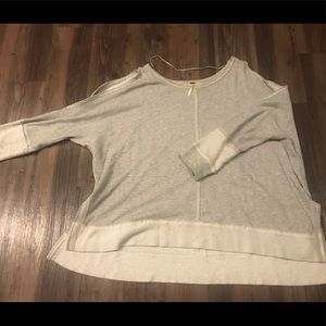 Free People Sweaters - Distressed Free People Sweater with Shoulder Cuts